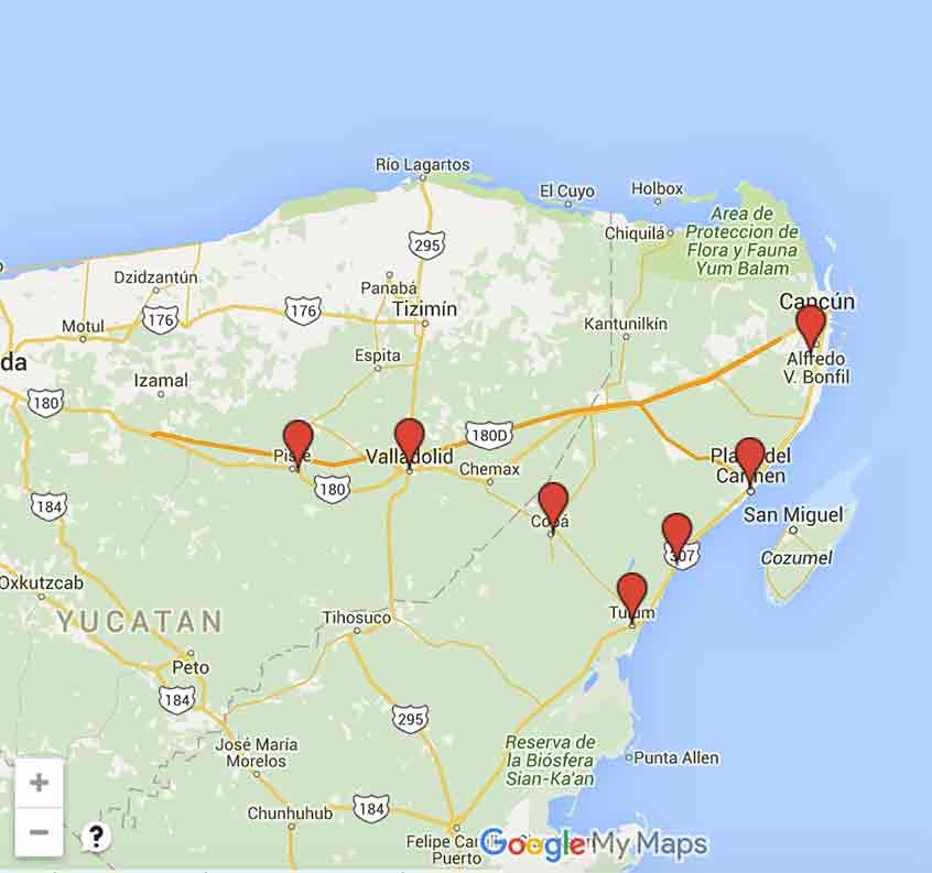 Carte riviera maya cancun tulum